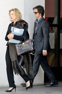 Mark Wahlberg and Jessica Lange film scenes for 'The Gambler' in Beverly Hills