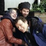 Kate Winslet, Charlie Kaufman e Michel Gondry sul set
