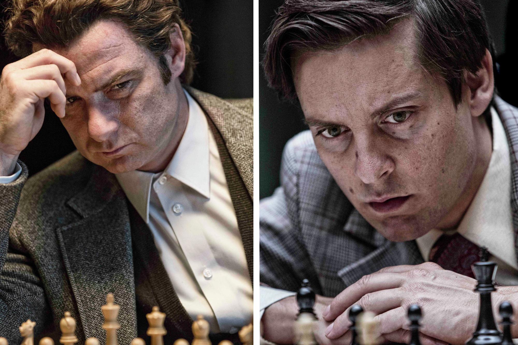 PAWN SACRIFICE- 2014 FILM STILL - Liev Schreiber and Tobey Maguire -