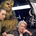 Daisy Ridley, Harrison Ford e Peter Mayhew.