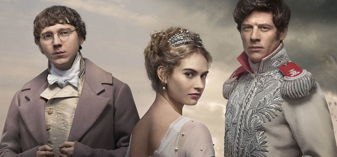 WARNING: Embargoed for publication until 00:00:01 on 20/11/2015 - Programme Name: War & Peace - TX: n/a - Episode: War & Peace - Generics (No. Generics) - Picture Shows:  Prince Andrei (JAMES NORTON), Natasha Rostov (LILY JAMES), Pierre Bezukhov (PAUL DANO) - (C) BBC - Photographer: Mitch Jenkins