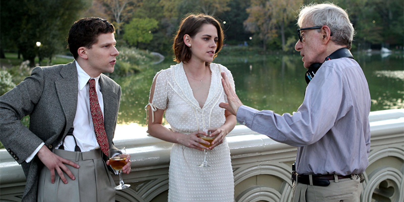 Woody Allen, Kirsten Stewart e Jesse Eisenberg