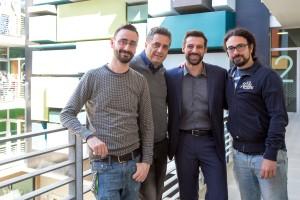 Daniele Coluccini, Francesco Dainotti, Maurizio Tesei e Matteo Botrugno sul set de Il contagio