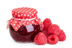 Raspberry jam and fresh berries