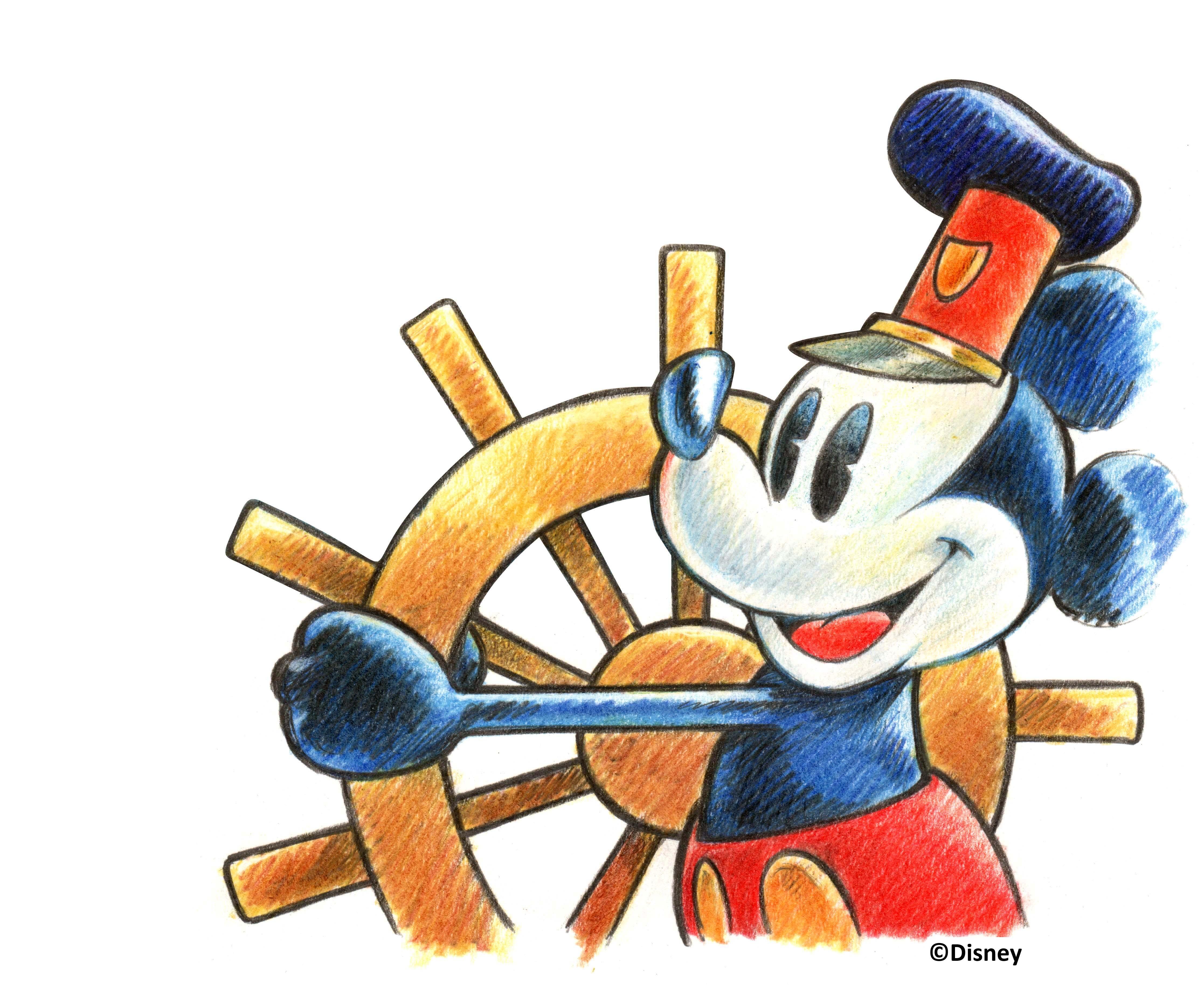 Artwork di Giorgio Cavazzano che omaggia Steamboat Willie per il franco…