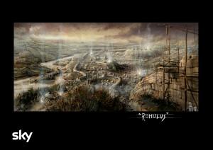 L'illustrazione di Riccardo Monti (Art Director) mostra una delle ambientazioni di Romulus che saranno ricostruite sul set